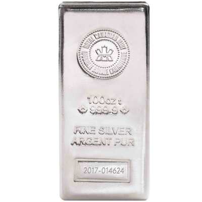 A picture of a 100 oz. Royal Canadian Mint Silver Bar